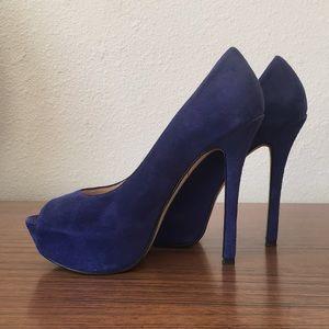 Enzo angiolini blue suede platform heels
